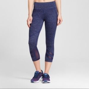 Pants - Navy Capri Leggings with Mesh Detail - Medium
